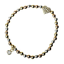 Buy Adele Marie Triple Tone Diamante Heart Stretch Bracelet, Gold Online at johnlewis.com