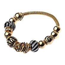 Buy Adele Marie Diamante Chunky Bead Mesh Charm Bracelet, Gold Online at johnlewis.com