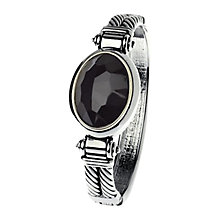 Buy Adele Marie Metallic Cord Black Stone Bangle, Silver Online at johnlewis.com