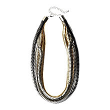 Buy Adele Marie Tri Colour Metallic Flat Mesh Multi Row Necklace, Gold Online at johnlewis.com
