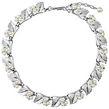Buy Susan Caplan Vintage Bridal 1960s Trifari Faux Pearl Leaf Link Necklace, Silver Online at johnlewis.com