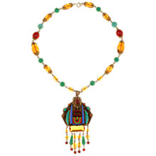 Buy Alice Joseph Vintage 1920s Egyptian Revival Enamel and Filigree Pendant Necklace, Multi Online at johnlewis.com