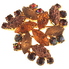 Buy Alice Joseph Vintage 1950s Moulded Art Glass Marquise Cluster Brooch, Topaz Online at johnlewis.com