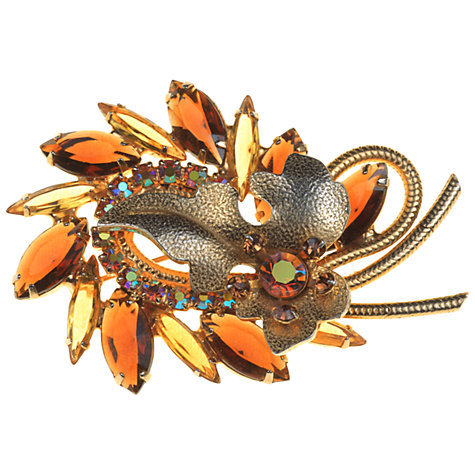 Buy Alice Joseph Vintage Diamante Swirl Leaf Gilt Brooch, Topaz Online at johnlewis.com