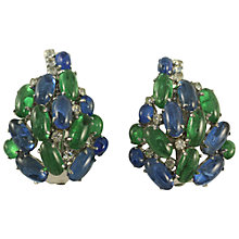 Buy Alice Joseph Vintage 1970s Christian Dior Glass Cluster Clip-On Earrings, Blue / Green Online at johnlewis.com