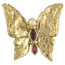 Buy Alice Joseph Vintage 1970s Yves Saint Laurent Abstract Butterfly Brooch, Gold Online at johnlewis.com