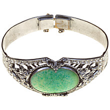 Buy Alice Joseph Vintage 1930s Art Deco Peking Glass Stone Bangle, Silver / Green Online at johnlewis.com