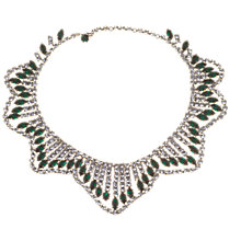 Buy Alice Joseph Vintage 1980s Diamante Wave Collar Necklace, White / Green Online at johnlewis.com