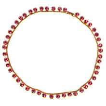 Buy Alice Joseph Vintage 1950s Round Cut Diamante Row Necklace, Pink Online at johnlewis.com