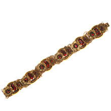 Buy Alice Joseph Vintage 1920s Bohemian Link Diamante Gilt Bracelet, Red Online at johnlewis.com