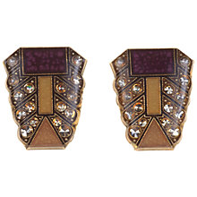 Buy Alice Joseph Vintage 1960s Art Deco Revival Enamel Clip-On Earrings, Caramel Online at johnlewis.com