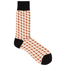 Buy Reiss Dreyer Cross Hatch Pattern Socks, Orange/Black/White Online at johnlewis.com