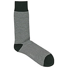 Buy Reiss Stroheim Stripe Socks, Green/White Online at johnlewis.com