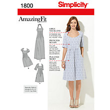 Buy Simplicity Amazing Fit Dresses Dressmaking Leaflet, 1800, AA Online at johnlewis.com