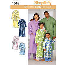 Buy Simplicity Easy to Sew Robes Dressmaking Leaflet, 1562, A Online at johnlewis.com