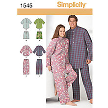 Buy Simplicity Unisex Nightwear Sewing Leaflet, 1545 Online at johnlewis.com