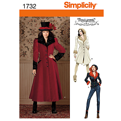Simplicity Costume Coat Sewing Pattern 1732 £5.65 AT vintagedancer.com
