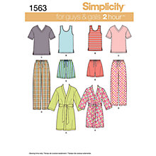 Buy Simplicity 2 Hour Nightwear Sewing Leaflet, 1563, A Online at johnlewis.com