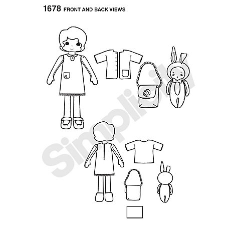 Buy Simplicity Felt Doll, Clothes & Accessories Sewing Leaflet, 1678 Online at johnlewis.com
