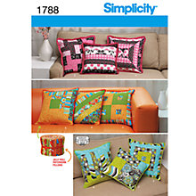 Buy Simplicity Patchwork Cushions Sewing Pattern, 1788 Online at johnlewis.com