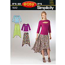 Buy Simplicity It's So Easy Women's Skirt & Knit Top Sewing Leaflet, 1642, A Online at johnlewis.com