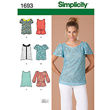 Buy Simplicity Tops Sewing Leaflet, 1693, P5 Online at johnlewis.com