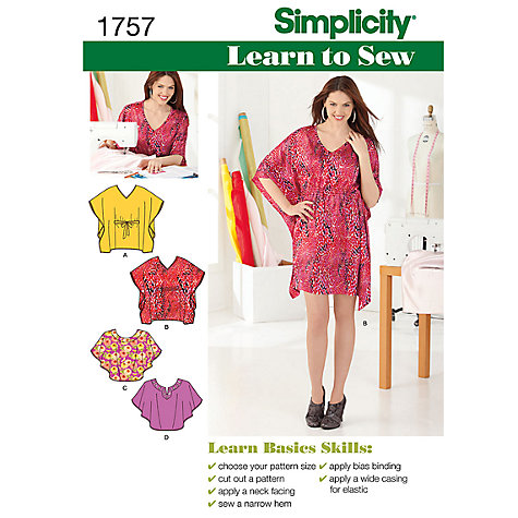 Buy Simplicity Learn to Sew Mini Dress & Top Sewing Leaflet, 1757, A Online at johnlewis.com