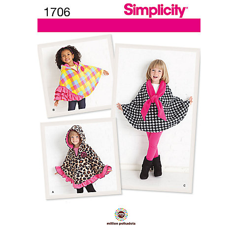 Buy Simplicity Child's Fleece Capes Sewing Pattern, 1706, A Online at johnlewis.com
