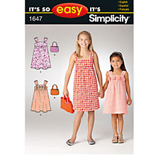 Buy Simplicity It's So Easy Girls' Dress & Bag Sewing Leaflet, 1647, A Online at johnlewis.com