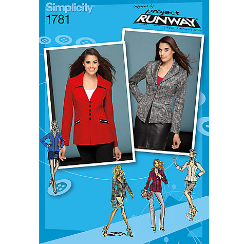 Buy Simplicity Jackets Project Runway Collection Sewing Leaflet, 1781, R5 Online at johnlewis.com