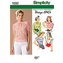Buy Simplicity Misses' 1940s Vintage Tops Sewing Leaflet, 1692, R5 Online at johnlewis.com