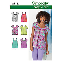 Buy Simplicity Women's Tops Sewing Pattern, 1615 Online at johnlewis.com