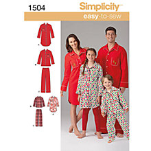 Buy Simplicity Easy to Sew Nightwear Dressmaking Leaflet, 1504, A Online at johnlewis.com