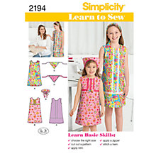 Buy Simplicity Learn to Sew Girls' Dresses Sewing Leaflet, 2194, HH Online at johnlewis.com