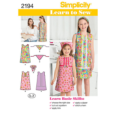 Buy Simplicity Learn to Sew Girls' Dresses Sewing Leaflet, 2194 Online at johnlewis.com