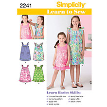 Buy Simplicity Learn to Sew Girls' Dresses Sewing Leaflet, 2241, HH Online at johnlewis.com