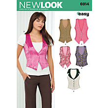 Buy New Look Women's Vests Sewing Patterns, 6914 Online at johnlewis.com