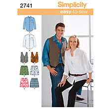 Buy Simplicity Easy to Sew Miss/Men's Shirt, Vest & Boxer Shorts Sewing Leaflet, 2741, AA Online at johnlewis.com