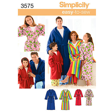 Buy Simplicity Easy to Sew Robes Sewing Leaflet, 3575, A Online at johnlewis.com