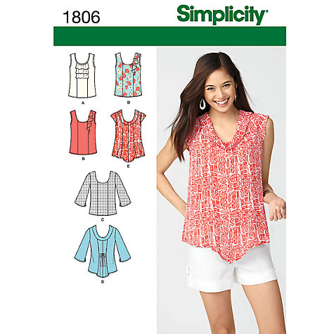Buy Simplicity Tops Sewing Leaflet, 1806 Online at johnlewis.com
