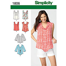 Buy Simplicity Tops Sewing Leaflet, 1806, U5 Online at johnlewis.com