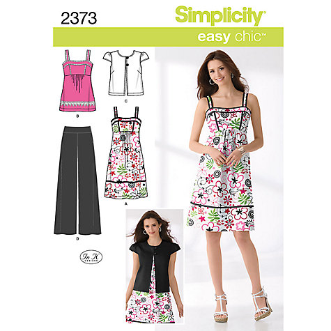 Buy Simplicity Easy Chic Dresses Dressmaking Leaflet, 2373 Online at johnlewis.com