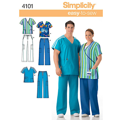 Buy Simplicity Easy to Sew Women's & Men's Plus Size Scrubs Sewing Leaflet, 4101 Online at johnlewis.com