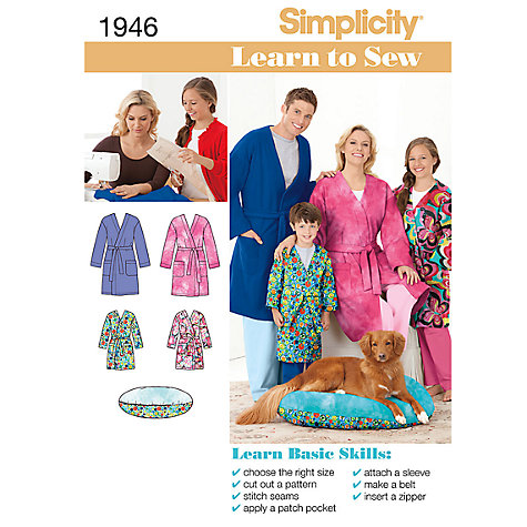 Buy Simplicity Learn to Sew Unisex Robe Sewing Leaflet, 1946, A Online at johnlewis.com