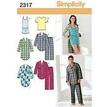 Buy Simplicity Unisex Sleepwear Sewing Leaflet, 2317, A Online at johnlewis.com