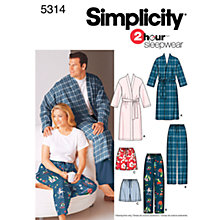 Buy Simplicity 2 Hour Sleepwear Sewing Leaflet, 5314, AA Online at johnlewis.com