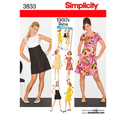 1960s Sewing Patterns- Dresses, Tops, Pants etc Simplicity 1960s Retro Dresses Dressmaking Leaflet 3833 £4.47 AT vintagedancer.com