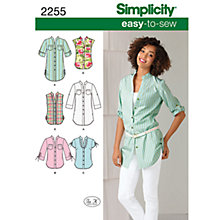 Buy Simplicity Easy to Sew Tunic or Shirt Sewing Leaflet, 2255, H5 Online at johnlewis.com