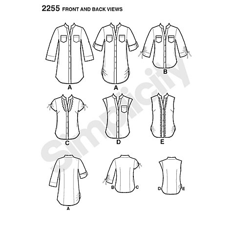 Buy Simplicity Easy to Sew Tunic or Shirt Sewing Leaflet, 2255 Online at johnlewis.com
