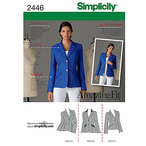 Buy Simplicity Amazing Fit Jacket Dressmaking Leaflet, 2446 Online at johnlewis.com